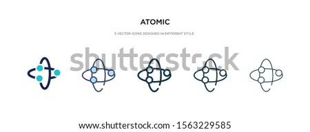 atomic icon in different style vector illustration. two colored and black atomic vector icons designed in filled, outline, line and stroke style can be used for web, mobile, ui