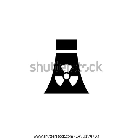 Atomic Nuclear Power Plant. Flat Vector Icon illustration. Simple black symbol on white background. Atomic Nuclear Power Plant sign design template for web and mobile UI element