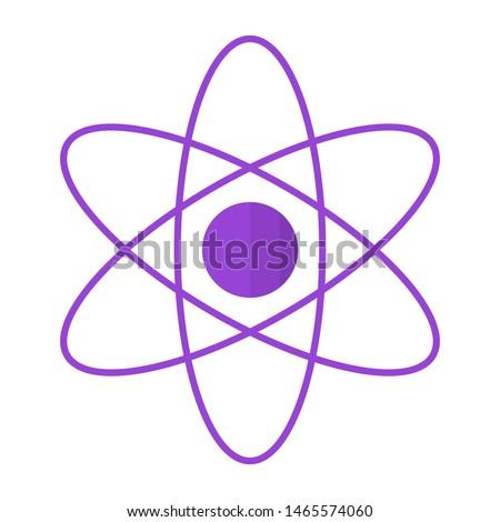 atomic nucleus flat style - atomic nucleus icon isolated on white background