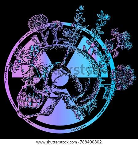 atomic skull fashion t shirt