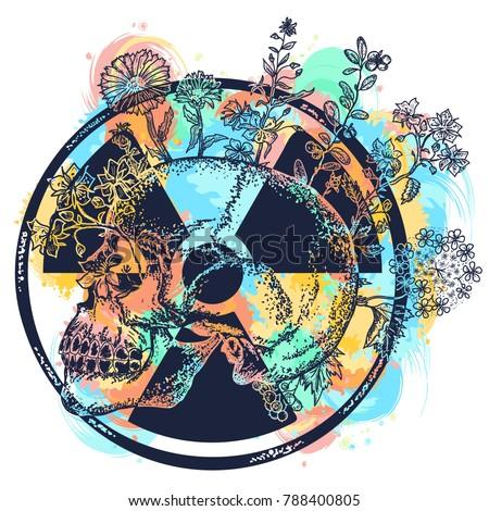 atomic skull watercolor