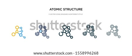 atomic structure icon in different style vector illustration. two colored and black atomic structure vector icons designed in filled, outline, line and stroke style can be used for web, mobile, ui
