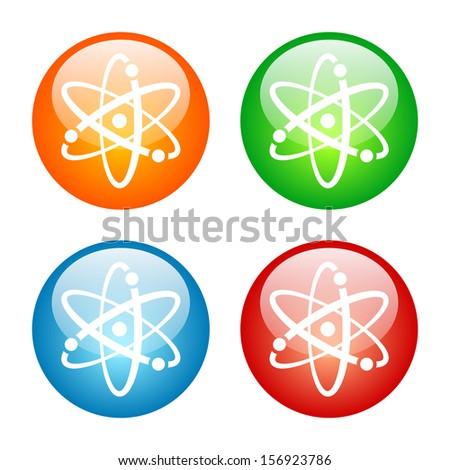 Atomic Symbol Icon Glass Button Icon Set