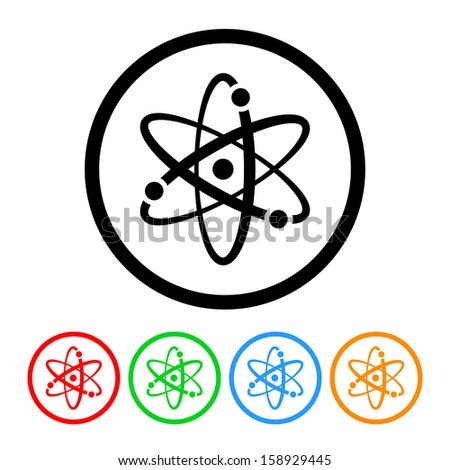 Atomic Symbol Icon with Color Variations