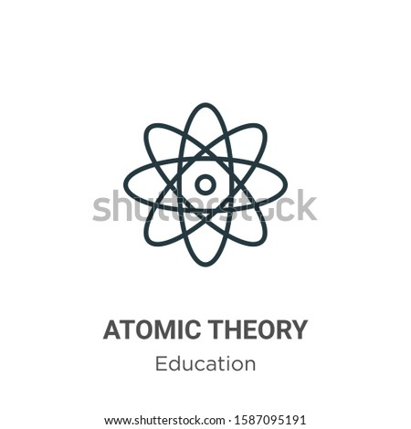 Atomic theory outline vector icon. Thin line black atomic theory icon, flat vector simple element illustration from editable education concept isolated on white background