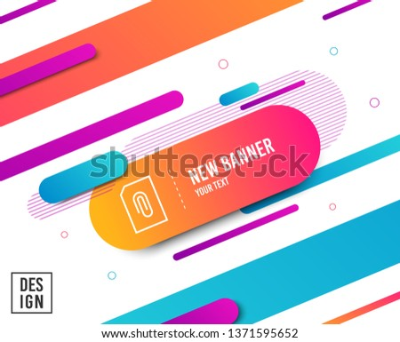 Attach Document line icon. Information File sign. Paper page concept symbol. Upload data. Diagonal abstract banner. Linear attachment icon. Geometric line shapes. Vector