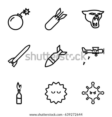 attack icons set set of 9
