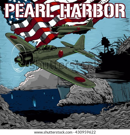 attack on pearl harbor vector...