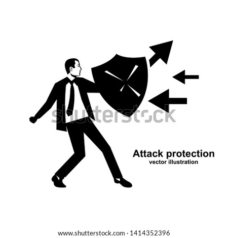 Attack protection. Black silhouette businessman hold shield defending from attacks. Reflection impact. Vector illustration flat design. Isolated white background. Series of successful business people.