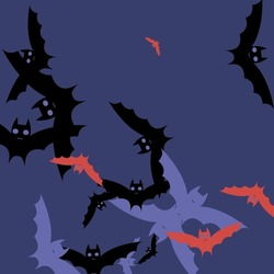 Attack Purple Sky Chaos Background. Black Spooky Eyes Red Halloween Art Illustration. Colorful Night Motion Scary Flying Bats Art Pattern. Gothic Print Pink Creepy Retro Bats Vector Background.