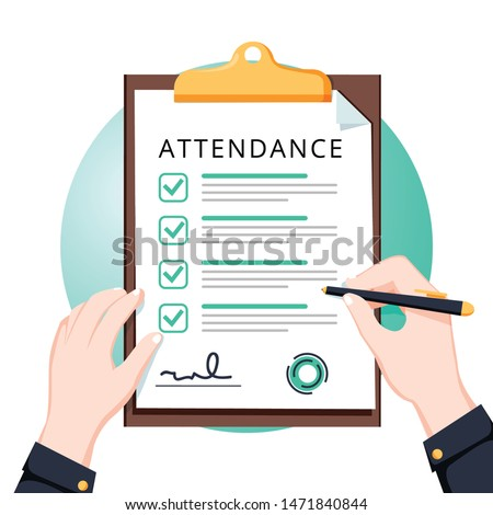 Attendance concept. Businessman holding document. Vector flat design. Man hold document clipboard with checklist. Questionnaire, survey, clipboard, task list. Flat design, vector illustration.