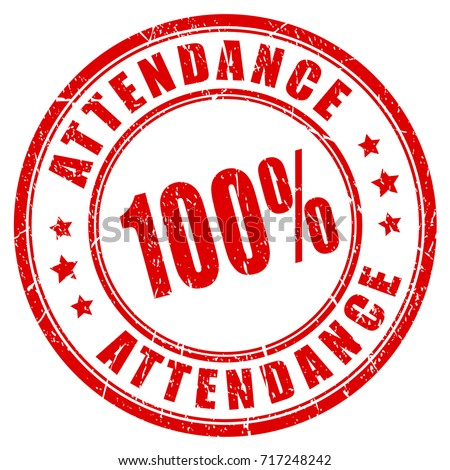 Attendance vector rubber stamp isolated on white background