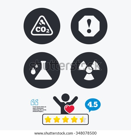 attention and radiation icons