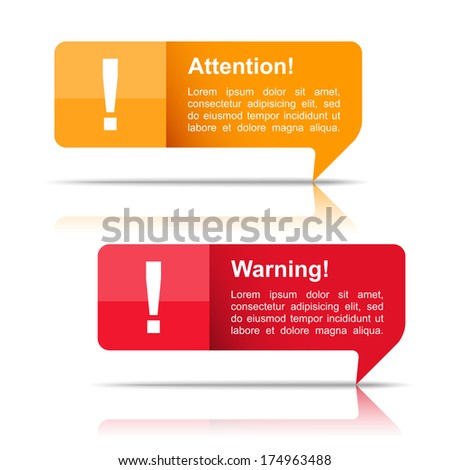 Attention and warning banners, vector eps10 illustration