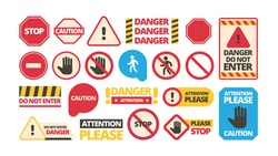 Attention boards. Admittance symbols stop hand red framed attention forbidden vector signs