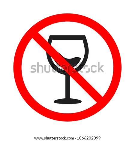 attention forbidden alcohol icon, forewarning forbidden drink sign