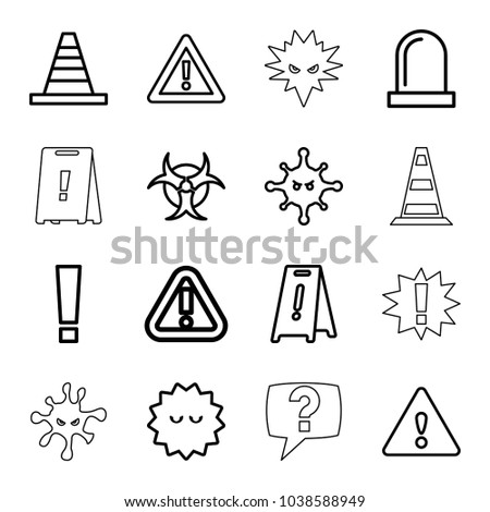 attention icons set of 16