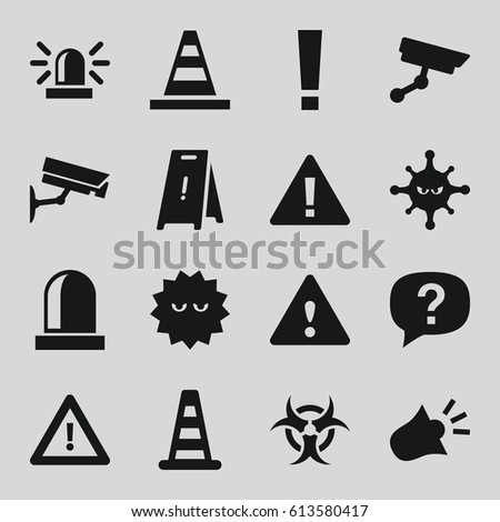 attention icons set set of 16