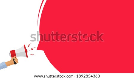 Attention important information message announcement from megaphone loud speaker banner vector flat cartoon, loudspeaker caution alert and warning notice concept, advertisement template empty blank