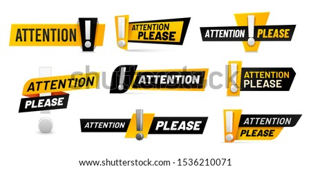 Attention please badges. Important message, warnings frames with exclamation point and black and yellow attention badge. Important word, danger announcements information. Isolated vector icons set