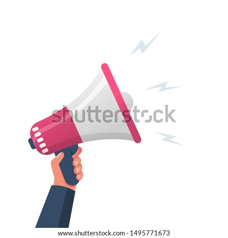 Attention please. Hand hold megaphone. Speaker, loudspeaker. Advertising and promotion symbol. Bullhorn cartoon. Social media marketing concept. Vector illustration flat design. Landing page template.