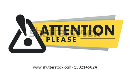 Attention please isolated icon, important announcement and exclamation mark vector. Business, marketing and advertising, street sign, warning or caution. Alert and risk emblem, notification or info Stock foto ©