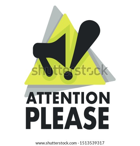 Attention please, isolated icon with megaphone and exclamation mark vector. Loudspeaker or bullhorn and triangle, important announcement logo. Business, marketing and advertising promo emblem