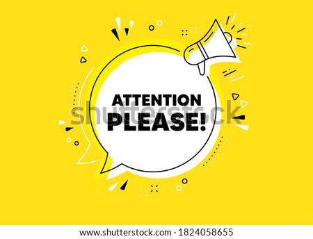 Attention please. Megaphone yellow vector banner. Special offer sign. Important information symbol. Thought speech bubble with quotes. Attention please chat think megaphone message. Vector