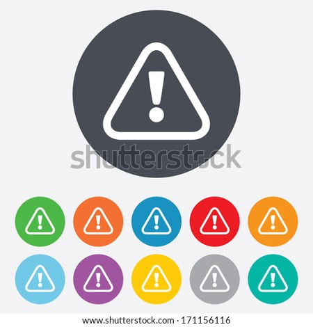 Attention sign icon. Exclamation mark. Hazard warning symbol. Round colourful 11 buttons. Vector