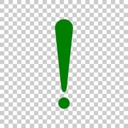 Attention sign illustration. Dark green icon on transparent background.
