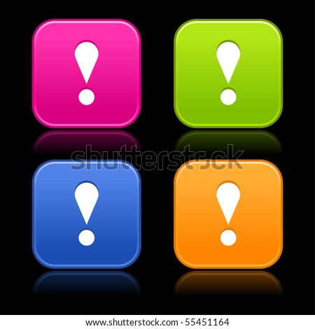 Colored satined rounded shapes with reflection on black background. Attention sign on web 2.0 internet buttons