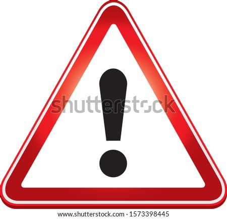 Attention sign. Warning caution board. Black exclamation mark in red triangle frame. Precaution message on banner. Alert icon isolated on white background. Button to attract attention. Danger symbol