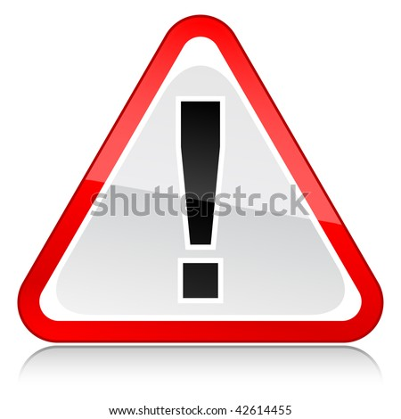 Attention sign with reflection on a white background
