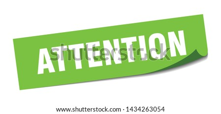attention square sticker. attention sign. attention banner