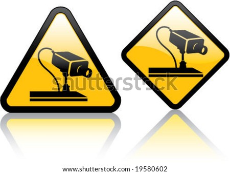 attention surveillance camera stock vector illustration 19580602 shutterstock. Black Bedroom Furniture Sets. Home Design Ideas