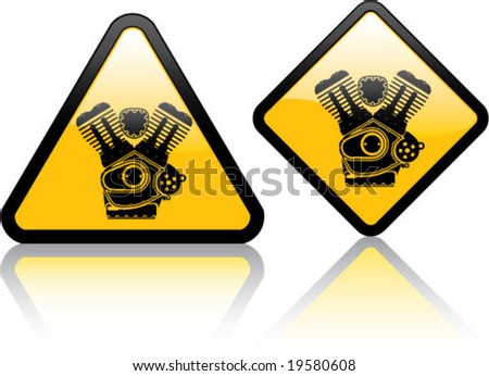 Attention V-Twin Engine motorcycle - stock vector