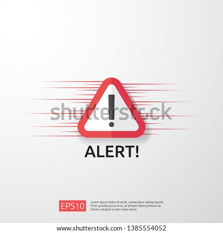 attention warning attacker alert sign with exclamation mark. beware alertness of internet danger symbol. shield line icon for VPN. Technology cyber security protection concept. vector illustration.