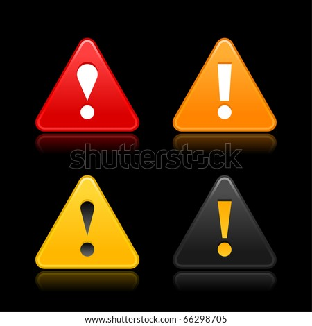 Attention warning icon web 2.0 button with exclamation mark. Satin triangle shape with reflection on black