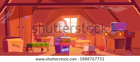 Attic room with old things, garret on roof with window and furniture. Discreet place with carton boxes, kids toys, toaster and couch with books and wardrobe, ball and lamp. Cartoon vector illustration Stock photo ©