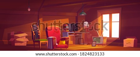 Attic room with old things, garret with window, wooden walls and furniture. Cozy place with antique switched-off TV set, carton boxes, computer, table with books and lamps. Cartoon vector illustration Stock photo ©