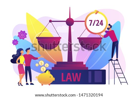 Attorney company, legal consulting and support. Notary clients. Legal services, lawyer referral service, get professional legal help concept. Bright vibrant violet vector isolated illustration