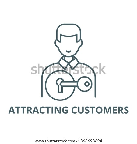 Attracting customers line icon, vector. Attracting customers outline sign, concept symbol, flat illustration