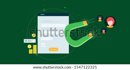 Attracting new customers, generating leads, Lead magnet flat design vector illustration on isolated background