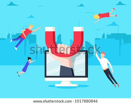 Attracting online customers. Hand with magnet attract people and money in screen. Customer retention strategy, Digital inbound marketing, Customer attraction flat vector banner.
