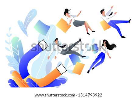 Attraction customers, buyers and marketing strategy concept. Big magnet attracts people, business metaphor. Vector flat style illustration.