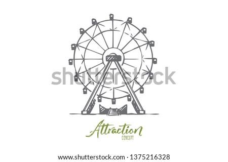 Attraction, Ferris, wheel, amusement, entertainment concept. Hand drawn Ferris wheel attraction concept sketch. Isolated vector illustration. Foto d'archivio ©