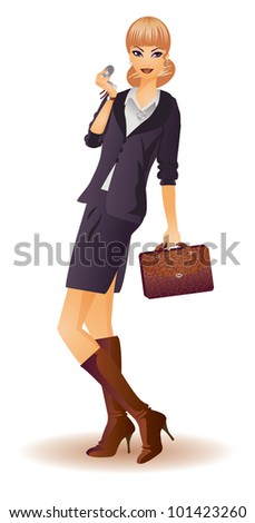 Attractive business woman with phone, vector