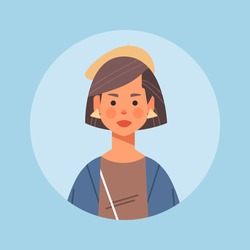 attractive businesswoman avatar beautiful woman face female cartoon character portrait vector illustration