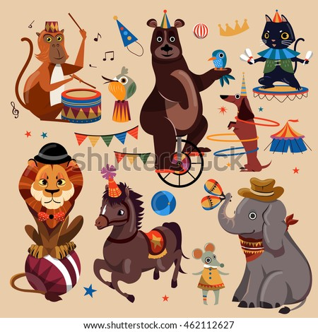 attractive circus animals set