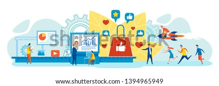 Attractive Digital Content Product, Successful Online Marketing Strategy in Social Network Flat Vector Concept with Company Leader Studying Audience Reaction, Clients Hurrying to Buy Goods in Internet